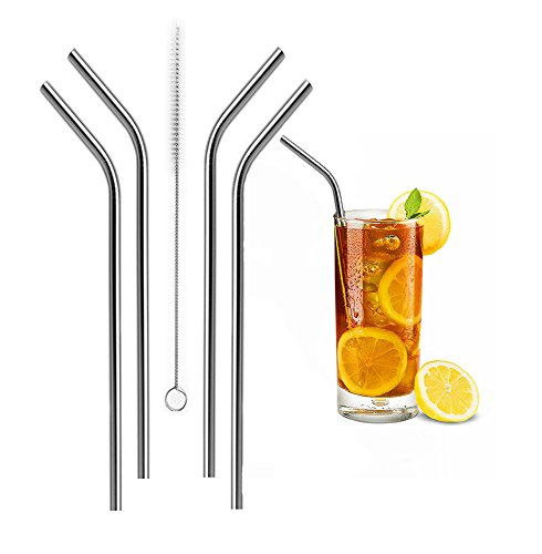 Bailyn Reusable Stainless Steel Drinking bend Straws set of 4 free cleaning brush included,Eco Friendly Metal straws fit 20-30oz for Tumbler soda water,juice,milk ,Rambler cup