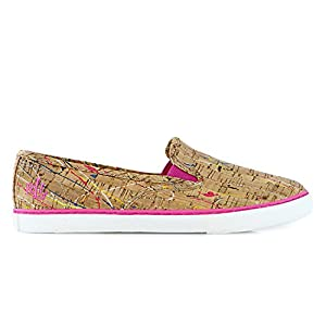 Lauren Ralph Lauren Women's Janis Fashion Sneaker, Pink/Yellow Multi Paint Splatter Cork, 8.5 B US