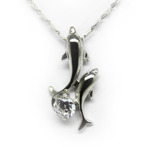 Top Value Jewelry - 925 Sterling Silver Necklace, 2 Playful Dolphins, Cubic Zirconia Stone, Free 18 Inch Chain
