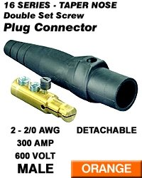 Leviton 16D22-O Single Pole Cam Type Plug Detachable Male Double Set Screw Complete 16 Series Taper Nose 2-2/0 Awg 300 Amp - Orange (Pkg Of 3)