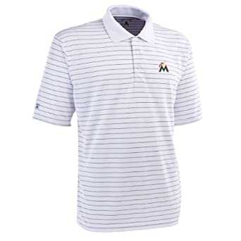 MLB Mens Miami Marlins Elevate Desert Dry Polo by Antigua