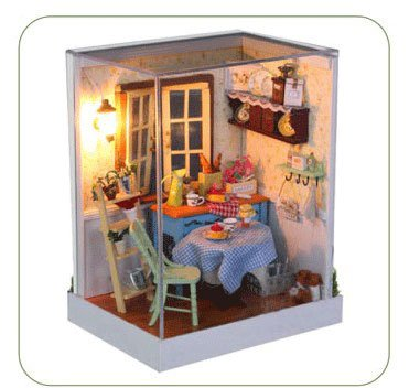 Big Dollhouse Miniature Diy Wood Frame Kit With Light Model Sweet Promise Gift Ldollhouse45-D82