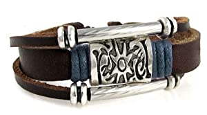 Sun Medallion & Blue Accented Leather Zen Bracelet Beads, Fits 6 to 9 Inch Wrists for Men, Women, Teen, Boys and Girls in Gift Box