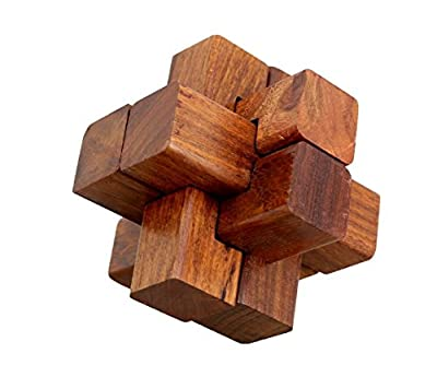 ShalinIndia Handmade Wooden IQ Teaser Puzzle Magic Games Interlock Notch Sticks 3.5X3.5X3.5 Inch For Children Unique Kids Gifts