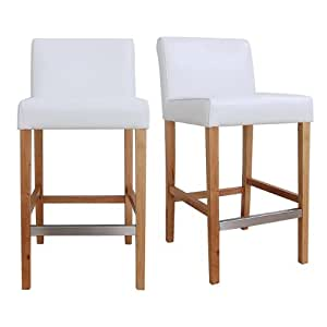Modern leather counter bar stool white set of 2 footrest elegant wood home office Home bar furniture amazon
