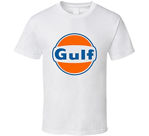 Gulf Gas Station Logo Cars TShirt 2XL White (Gas Station Shirt compare prices)