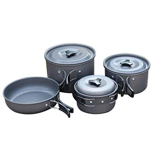 GlobalHouse Portable Non-stick Cooking Pot Set with Foldable Handles, Camping Picnic Campfire Cookware Utensil