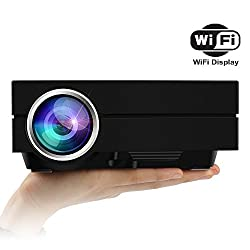 Ezapor GM60A Mini LED Projector Wireless Display WIFI 800*480 1000 Lumen Multimedia Private Cinema support HDMI VGA AV USB port enjoy Video Movie Game