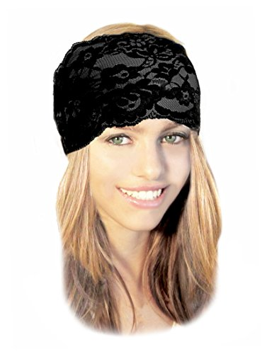 Stunning Stretch Wide Floral Lace Head-bands in Many Beautiful Colors Handmade ShariRose (Black rose - 109c) (Vintage Head Wraps compare prices)