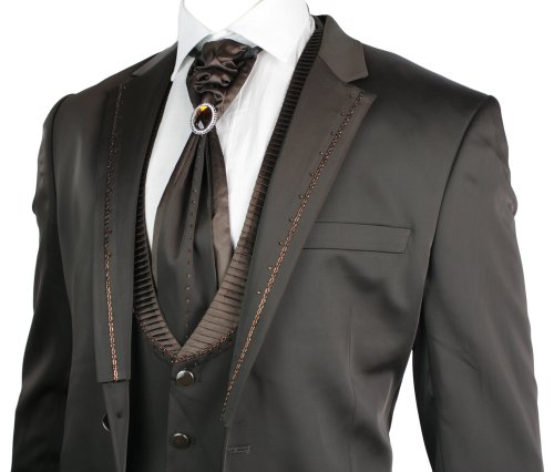 Mens Shiny Slim Fit Wedding Party Suit Brown 4 Piece Lapels W Daimontes