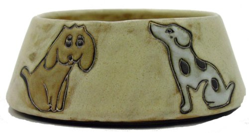 Mara Ceramic Stoneware 24 Oz. Dogs Brown Medium Dog Dish front-116939