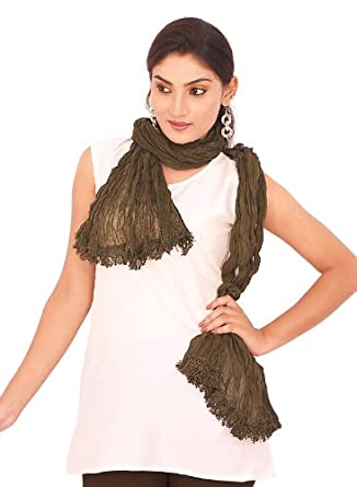 IndusDiva Women's Mehendi Green Cotton Dupatta