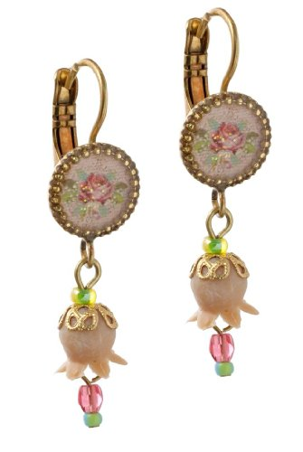 Michal Negrin Earrings with Roses Bouquet Print, Dangle Lily, Pink and Green Beads - Hypoallergenic
