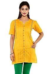 Aaboli Mustard Cambric Short Kurta (2001992-MUSTARD-XL)