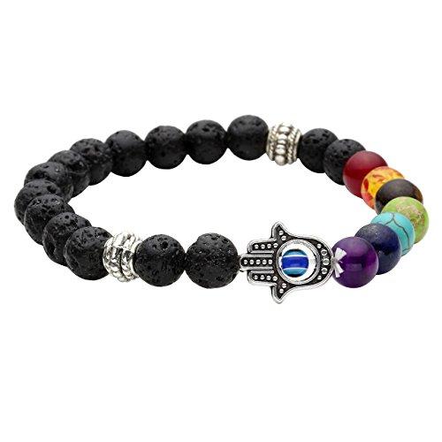 JOVIVI 7 Chakras Gemstone Bracelet Lava Stone Crystal Reiki Healing Balancing Round Beads - Hamsa hand