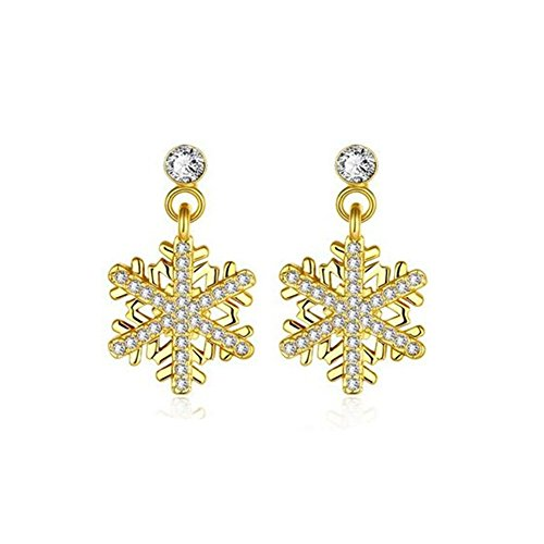 VVeda European and American Fashion Alloy Crystal Snowflake Earrings(E2) (Evil Queen From Snow White Costume)