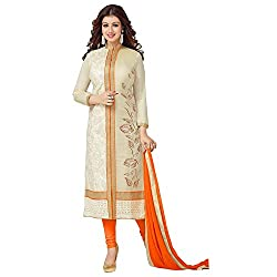 ZHot Fashion Women's Embroidered un-stitched Dress Material In Cotton Fabric (ZHASW1002) Beige and Orange