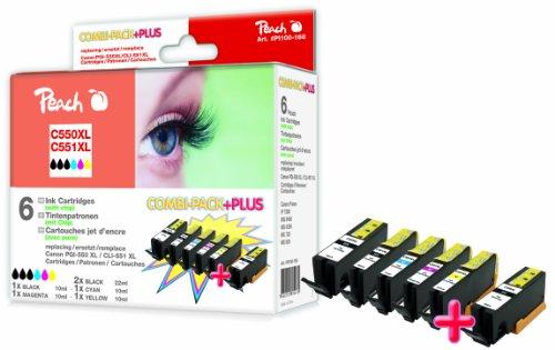 Peach C550XL/C551XL 2xbk, c, m, y, pbk Spar Pack Plus Tintenpatronen mit Chip, XL-Ergiebigkeit, kompatibel zu Canon PGI-550, CLI-551