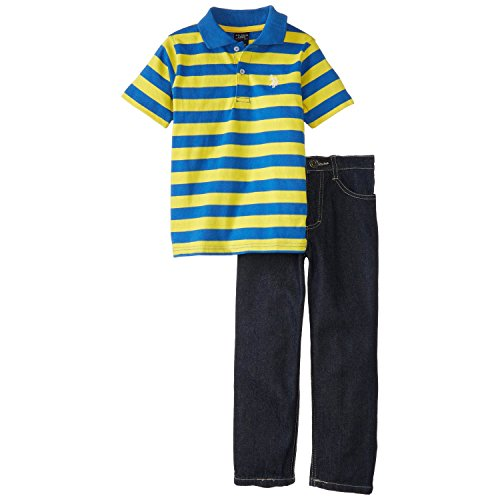 U.S. Polo Assn. Little Boys' Striped Polo And Denim Jeans Set, Strong Blue, 7 front-407752