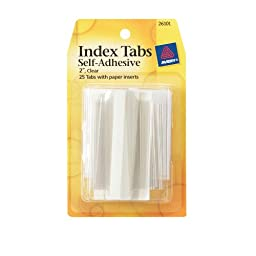 Avery Index Tabs with Writable Inserts, 2 Inches,  25 Clear Tabs (26101)
