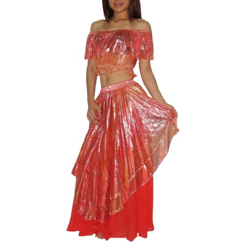 2 PIECE SET: Ladies Sexy Exotic Belly Dance Metallic Off Shoulder Top & Skirt Costume Set - Size: one size