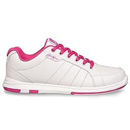 KR Strikeforce Ladies Satin Bowling Shoes- White/Hot Pink (6 1/2 M US, White/Hot Pink)