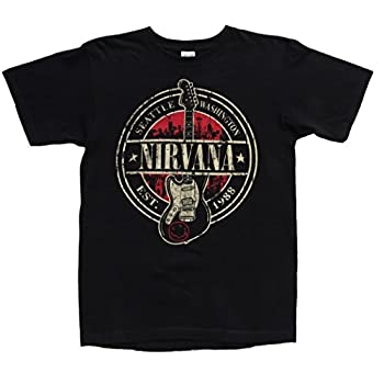 Nirvana Est. 1988 Guitar Stamp Black T-Shirt