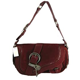 Dior Handbags (Dark Red) SUF44923 Suede Medium Gaucho Saddle Bag