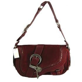Dior Handbags (Dark Red) SUF44923 Suede Medium Gaucho Saddle Bag