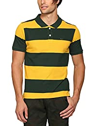 Abof Men Mustard Yellow & Dark Green Striped Regular Fit Polo T-shirt