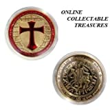 ONE RARE 1oz TROY Ounce 24k/999 FINE PURE GOLD PLATED MASON KNIGHTS TEMPLAR COIN