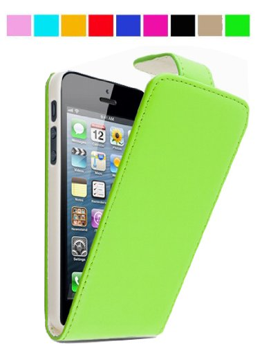 GadgetinBox? - New Luxury Flip Leather Case For Apple iPhone 5 (Green)
