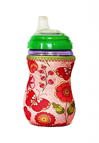 Kidzikoo - #1 Neoprene Baby Bottle/Sippy Cup Insulator Cooler Coozie - Flowers & Butterflies