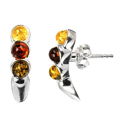Multicolor Amber Sterling Silver Line Stud Earrings Cabochon Size 4x4mm
