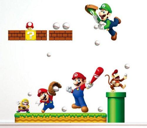 Mario Bros Baseball Theme Wall Decal For Kid'S Room Wall Decor Removable Boy'S Room Wall Art Super Mario Bros Sticker front-124549