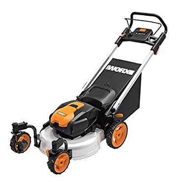 WORX WG771 56V Lithium-Ion 3-in-1 Cordless Mower with Locking Caster Wheels, 19, (2) Batteries and Charger Included