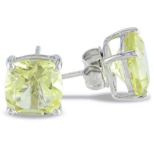 Sterling Silver 8mm Cushion Lemon Quartz Solitaire Earrings