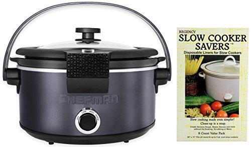 Chefman 5 Quart Crock Pot Slow Cooker - Includes 8 Crock Pot Liners (7qt Crock Pot Ceramic Replacement compare prices)