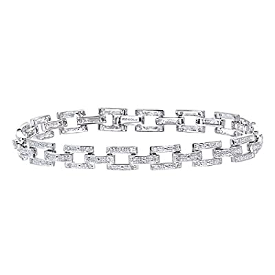 Ariel 9ct White Gold 0.50ct Pave Set Diamond Bar Link Bracelet