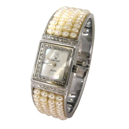 Oskar Emil Biarritz pearl strung stainless steel bangle pink mother of pearl face crystal set women's dress watch