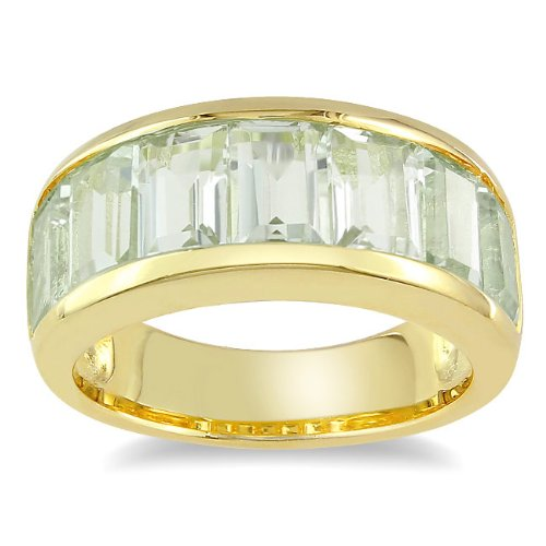 Yellow Silver 3 4/5 CT TGW Green Amethyst Fashion Ring (G-H, I3)