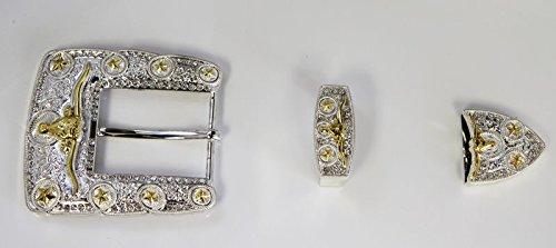"""Western Engraved Belt Buckle Set Gold Long Horn Star 1 1/2"""""""