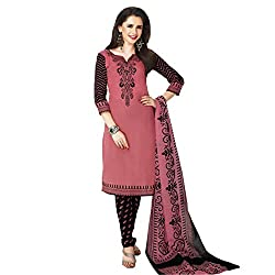 Rajnandini Women's Cotton Salwar Suit Dress Material(JOPLSDYA1832_MARRON&BLACK_Free Size)