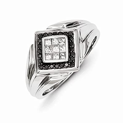 Solid 14k White Gold Black and White Diamond Men's Wedding Ring Band (1/2 cttw) (15mm)