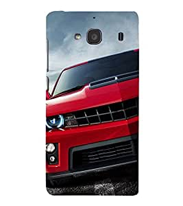 Stylish RED Car 3D Hard Polycarbonate Designer Back Case Cover for Xiaomi Mi 2S :: Xiaomi Redmi 2S :: Xiaomi Redmi 2 Prime :: Xiaomi Redmi 2 Note