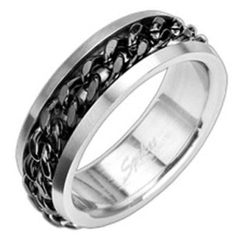 Stainless Steel with IP Black Chain Spinning Center Band Ring Size 9 - 15 R122