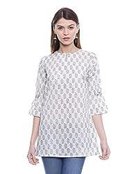 Fabindia Women's Printed Tunic (10348053_White and Black_Medium)