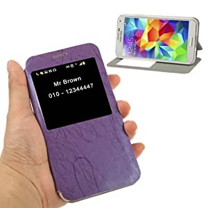 Roots Texture Leather Case with Call Display ID & Holder for Samsung Galaxy S5 G900 in Purple