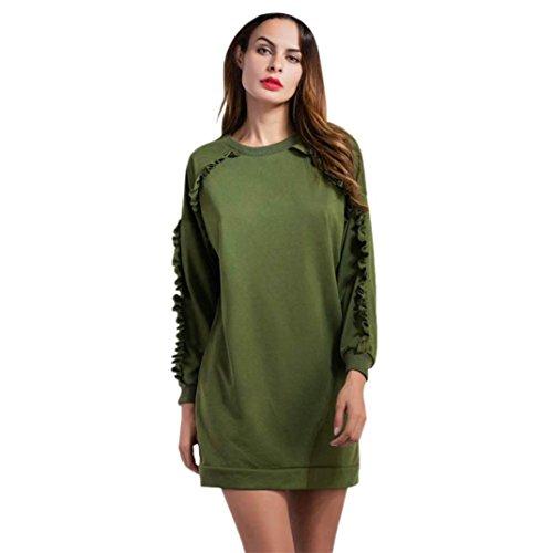 DaySeventh Women Pullover Fringe Top Long sleeve Sweatshirt Blouse Dress (S, Army Green)