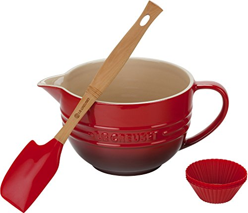 Le Creuset 8 Piece Cherry Silicone and Stoneware Batter Bowl Set (Le Creuset Silicone Baking Cups compare prices)